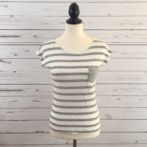 J. Crew Gray & White Striped T-shirt Size XXS